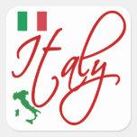 Italia Pegatina Cuadrada