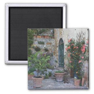 Italia, Petroio. Las plantas Potted adornan un pat Iman