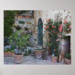 Italia, Petroio. Las plantas Potted adornan un pat Poster