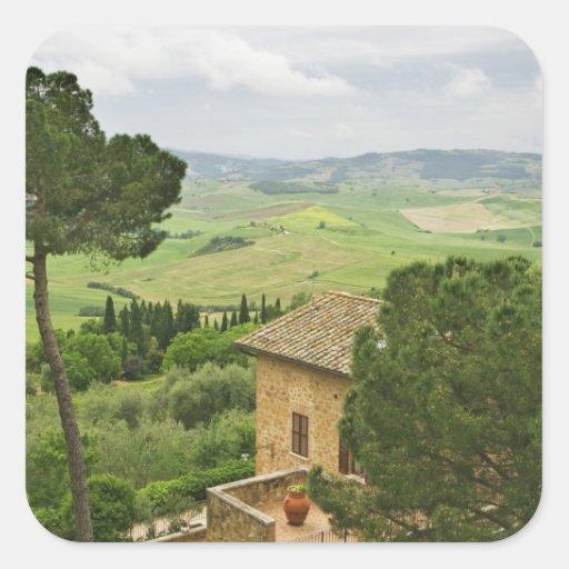 Italia, Pienza. Vista de la Toscana Pegatina Cuadrada