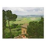 Italia, Pienza. Vista de la Toscana Postal