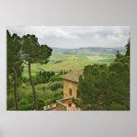 Italia, Pienza. Vista de la Toscana Póster