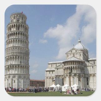 Italia Pisa Torre inclinada de Pisa y Calcomanías Cuadradass Personalizadas