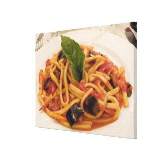 Italia, Positano. Placa de las pastas y de la Impresion En Lona