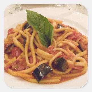 Italia, Positano. Placa de las pastas y de la Pegatina Cuadrada