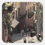 Italia, provincia de Como, Bellagio. Salita 2 Pegatina Cuadrada