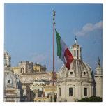 Italia, Roma. Bandera italiana Azulejo Ceramica