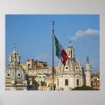 Italia, Roma. Bandera italiana Poster