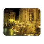 Italia, Roma. Fuente del Trevi en la noche Iman Rectangular