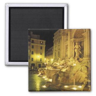 Italia, Roma. Fuente del Trevi en la noche Imán Cuadrado