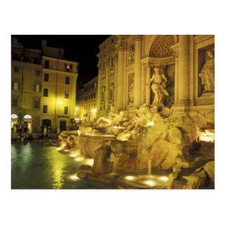 Italia, Roma. Fuente del Trevi en la noche Postal