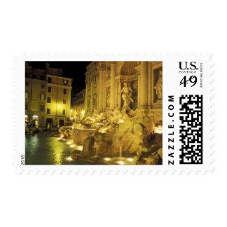 Italia, Roma. Fuente del Trevi en la noche Sellos Postales
