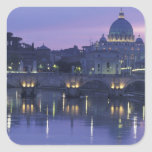 Italia, Roma San Pedro y Ponte Sant Ángel, Pegatina Cuadrada