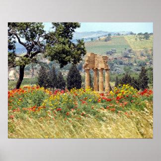 Italia, Sicilia, Agrigento. Las ruinas del Póster