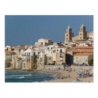 Italia, Sicilia, Cefalu, opinión de la ciudad con Tarjetas Postales