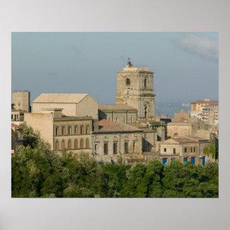 Italia, Sicilia, Enna, opinión de la ciudad de los Póster