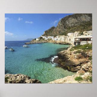 Italia, Sicilia, islas de Egadi, Levanzo, Póster