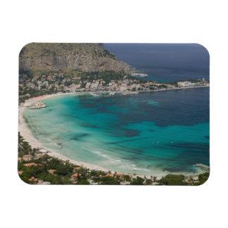 Italia, Sicilia, Mondello, vista de la playa de Rectangle Magnet