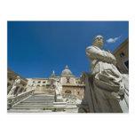 Italia, Sicilia, Palermo, fuente con el busto y Tarjeta Postal