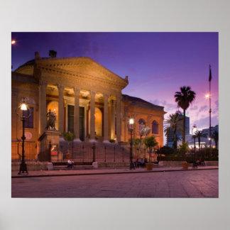 Italia, Sicilia, Palermo, ópera de Teatro Máximo Póster