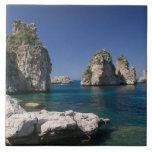 Italia, Sicilia, Scopello, rocas por el Tonnara Azulejo Cuadrado Grande