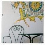 ITALIA, Sicilia, TAORMINA: Bam, detalle del café d Azulejo Cuadrado Grande