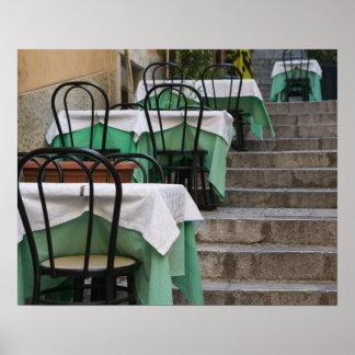 ITALIA, Sicilia, TAORMINA: Corso Umberto 1, café Póster