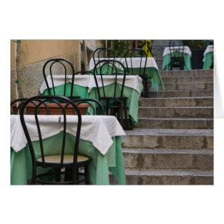 ITALIA, Sicilia, TAORMINA: Corso Umberto 1, café Tarjeta De Felicitación