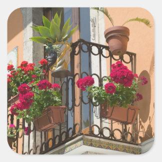 ITALIA, Sicilia, TAORMINA: Corso Umberto 1, Pegatina Cuadrada