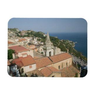 ITALIA, Sicilia, TAORMINA: Vea hacia la plaza IX Imanes Rectangulares