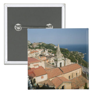 ITALIA, Sicilia, TAORMINA: Vea hacia la plaza IX Pin Cuadrada 5 Cm