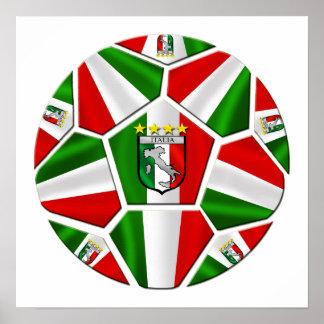 Italia soccer ball Italian flag of Italy panels Poster