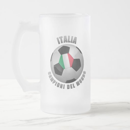 ITALIA SOCCER CHAMPIONS FROSTED GLASS BEER MUG
