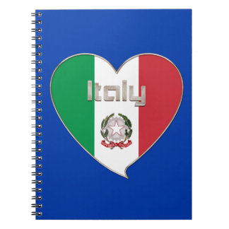 ITALIA souvenir de corazón y la bandera tricolor Libro De Apuntes Con Espiral