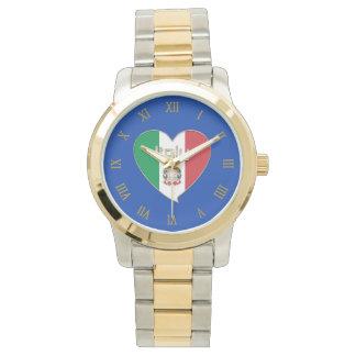 ITALIA souvenir de corazón y la bandera tricolor Relojes De Pulsera