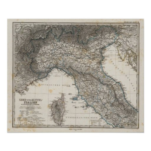 Italia superior y central póster