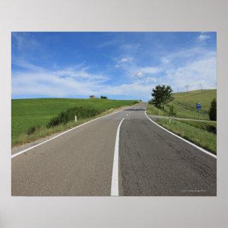 Italia, Toscana, d'Orcia de Val, camino Póster
