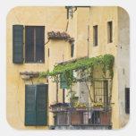 Italia, Toscana, Florencia. Balcón y Pegatina Cuadrada