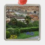 Italia, Toscana, Florencia. Vista de la ciudad de Adorno Navideño Cuadrado De Metal
