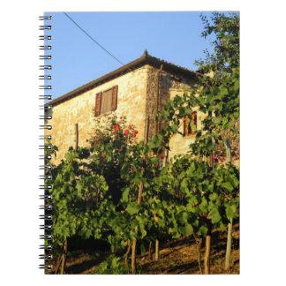 Italia, Toscana, Huelga. Escenas del vino del vera Note Book