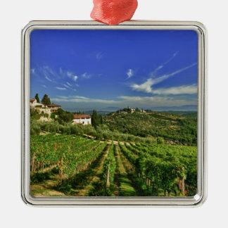 Italia, Toscana, Huelga. Los viñedos de Castello Adorno Navideño Cuadrado De Metal