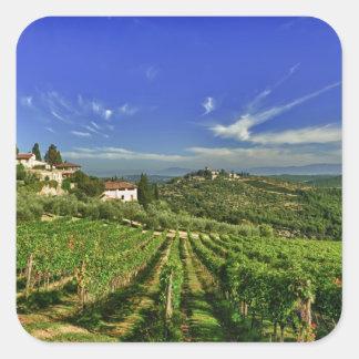 Italia Toscana Huelga Los viñedos de Castello Calcomanías Cuadradass Personalizadas