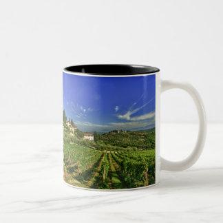 Italia, Toscana, Huelga. Los viñedos de Castello Taza De Café De Dos Colores