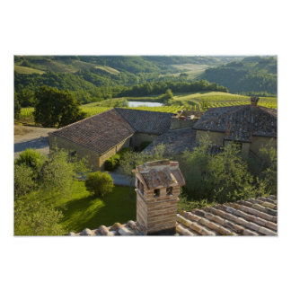 Italia, Toscana. Opinión de Roofop del chalet Póster