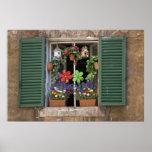 Italia, Toscana, Siena, ventana de una casa adentr Póster