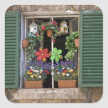 Italia, Toscana, Siena, ventana de una casa Pegatina Cuadrada