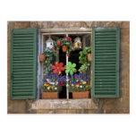 Italia, Toscana, Siena, ventana de una casa Postal