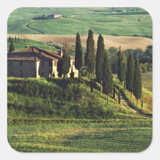 Italia. Un chalet pastoral de Toscana en Val d'Orc Calcomanías Cuadradas Personalizadas
