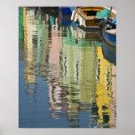 Italia, Venecia, Burano. Casas multicoloras adelan Impresiones