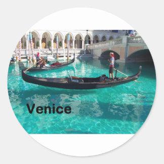 ¡Italia Venecia - góndola! (St.K) Pegatina Redonda